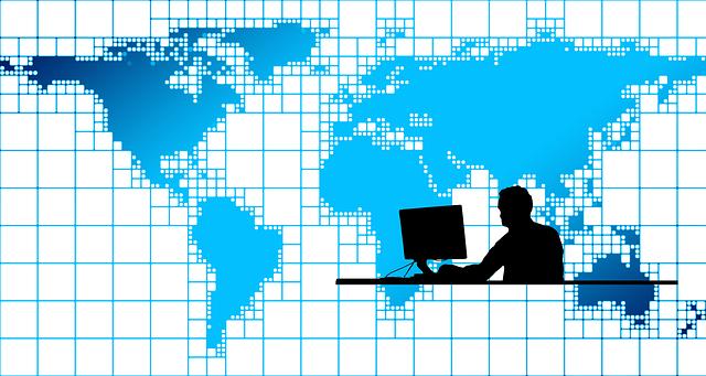 pracovník s celosvětovým připojením